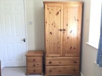 Pine wardrobe and bedside drawers