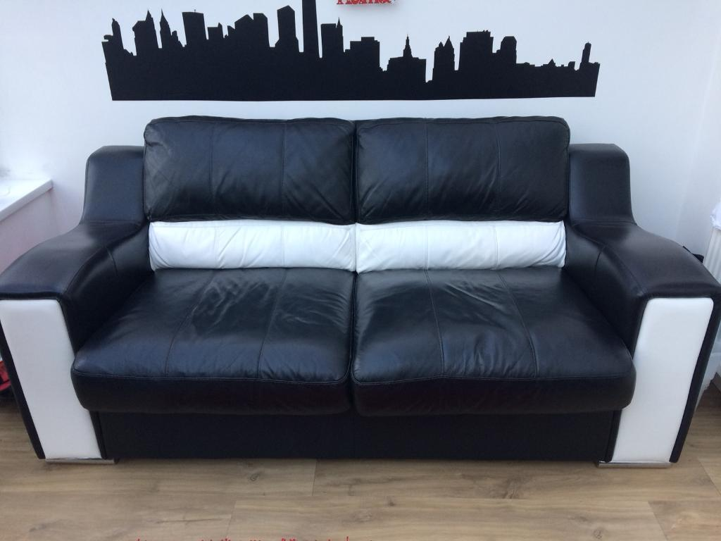 Black White Double Leather Sofa Bed From Dfs In Barry