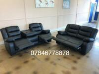 Black or grey leather recliner sofa s