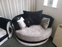 Black an silver sofa