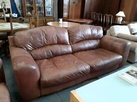 Caramel Brown Leather 2 and 3 Seater Sofas.