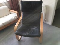 IKEA leather and ply armchair