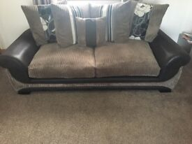 3 Seater Mink Cord Sofa and Snuggle Chair
