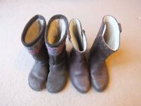 Clarks girl brown boots size 9F and Clarks girl grey leather boots size 8.5G