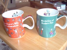 TWO DUNOON STONEWARE JUST LIFE MUGS, UNUSED.