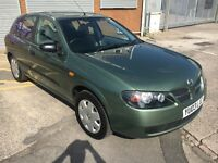 2003 Nissan Almera 1.5s 5 Door Hatchback, in Green, Very Low mileage, 64000 miles NEW MOT