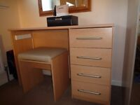 Small dressing table with matching stool light beech effect