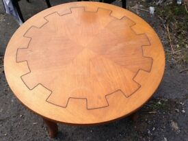 Art Deco style round oak coffee table