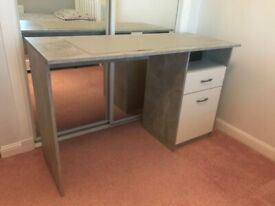 White desk with grey top and drawer