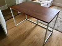 Desk: Habitat Nic White Steel Trestle / Recycled Iroko Worktop