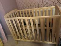 Barely used oak cot compact