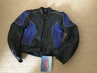 Motorcycle clothing - woman's Buffalo leather jacket size 12 . Brand new with tags