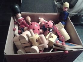 Box of various wooden toys, some lovely items