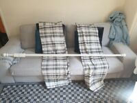 Squares grey white fabric Curtain and strong wood pole in excellent condition and very clean