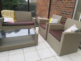 Rattan 4 Seat Patio / Conservatory Furniture Sofa Set - Natural