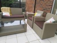 Rattan 4 Seat Patio / Conservatory Furniture Sofa Set - Natural