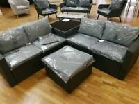 Rattan corner sofa with table and footstool