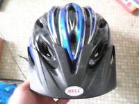 blue and blue Bell helmet w visor