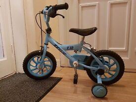 "14"" trax blue bike with training wheels"