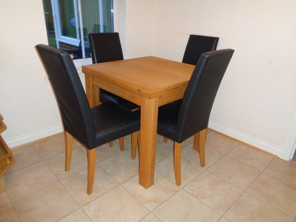 Extendable Kitchen Dining Table And 4 Chairs