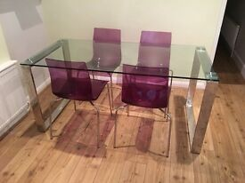 JOHN LEWIS GLASS TABLE 6-8 SEATER
