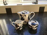 Marks & Spencers damask teapot, milk & sugar
