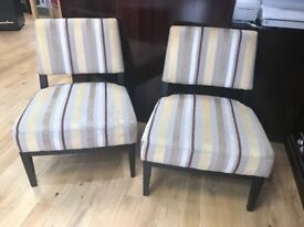 Pair of Armchairs, striped neutral fabric, brown wood