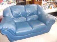 2 Seat Blue Leather Sofa Delivery Available