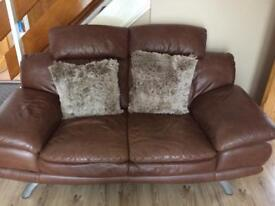 Leather 2 seater sofa set with footstool