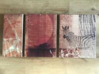 """Picture - Canvas triptych, """"African Sunset"""""""