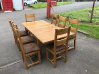 Solid oak extending dining table & 8 chairs * free furniture delivery *