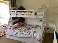 White wooden Triple bunk bed in contempary design