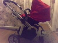 icandy apple red pushchair with raincover & fleece lining 2 way buggy i candy