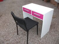 CHILDS 2 - DRAWER DESK (COMPUTER ? ) AND CHAIR WHITE AND PURPLE