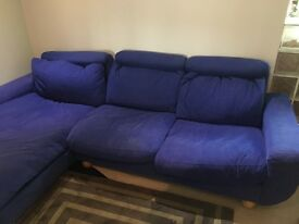 L Shape Corner Sofa, Blue, back reclines, designer brand, c2000 - well loved but good condition