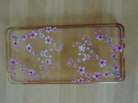 clear silicone withpink flowers mobile phone case 15.5cm fits samsung