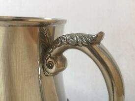 Roayal Selangor Pewter Tankard (Beautiful, with integral lions head feet, & engraved scrolled handle