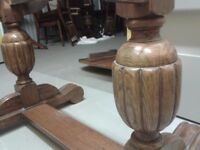 Antique dining table,solid oak,carved,extendable,one direction wobbly,no chairs