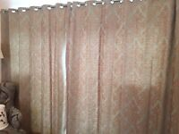 Fully lined Made, eyelet, Made to Measure Curtains (teal and taupe) - in Good Condition