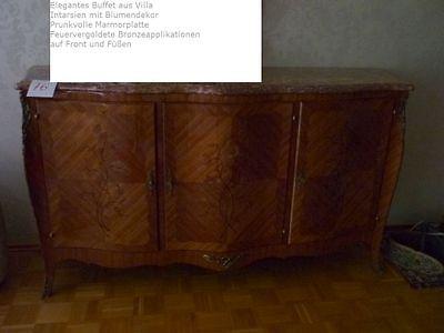 prunkvolles Buffet Rokoko Intarsien Kirschbaum Obsthölzer Bronze Marqueterie