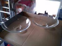 2 large glass serving/display bowls