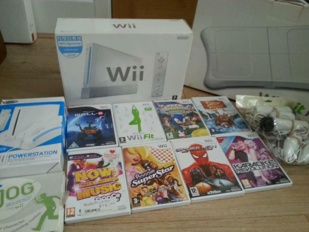 Nintendo Wii complete console with Wii fit board Nintendo wii wheel Nintendo wii stand and gamesin Bradford, West YorkshireGumtree - Nintendo Wii complete console with Wii Fit board Nintendo Wii stand with games in good condition and in full working order can be tested collection ideal for a birthday present to keep kids entertained for more info you can contact me