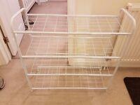 White Metal 4 Shelf Shoe Storage Rack
