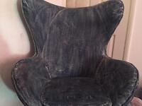 Denim swivel chair