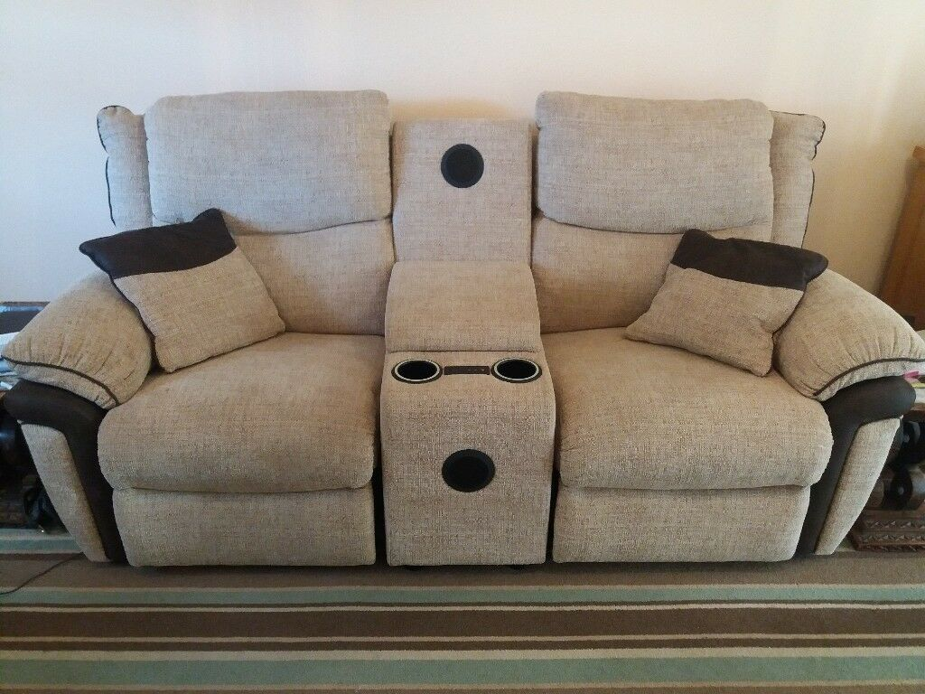 2 Seater Reclining Lazyboy Sofa With Sound System And Centre Storage Box