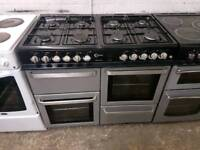 Flavel Milano 100 Dual Fuel Range Cooker 100cm width black and silver colour