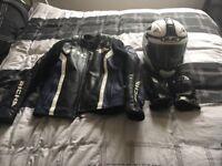 Leather jacket + helmet + gloves