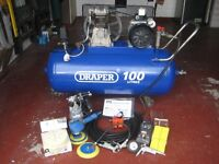 DRAPER 100L 2.2 KW COMPRESSOR AND MANY ATTACHMENTS - (Kirkby in Ashfield)