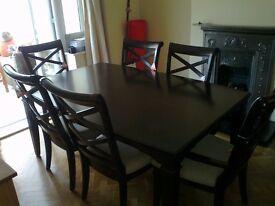 Extending table, 6 chairs and sideboard