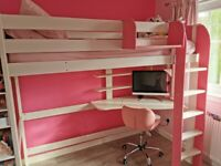 Stompa High Sleeper White/Pink without mattress *EXCELLENT CONDITION *